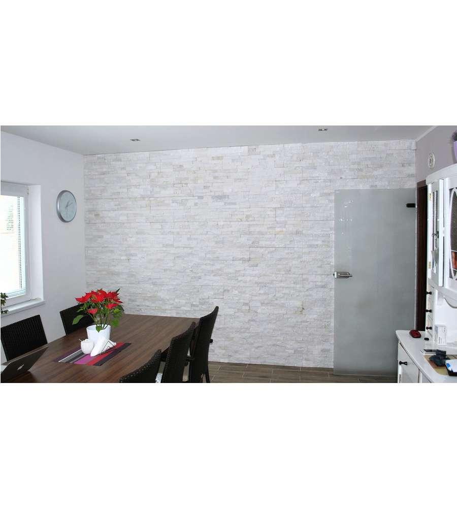 Rivestimento natural panel in quarzite bianca 15x60 cm - Pannello cucina rivestimento ...