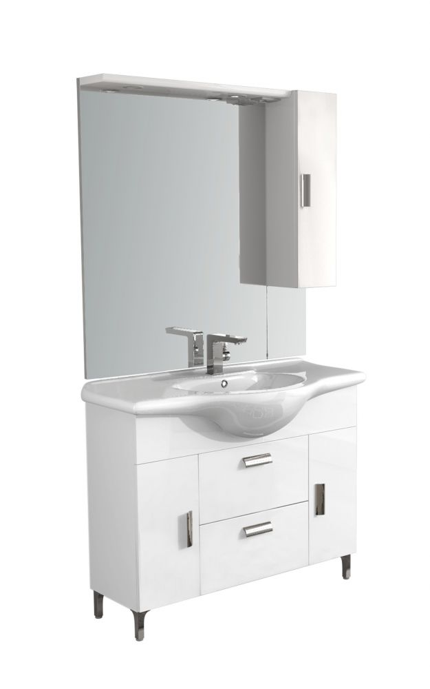 Composizione mobile bagno bianca rovereto 100 for Composizione bagno