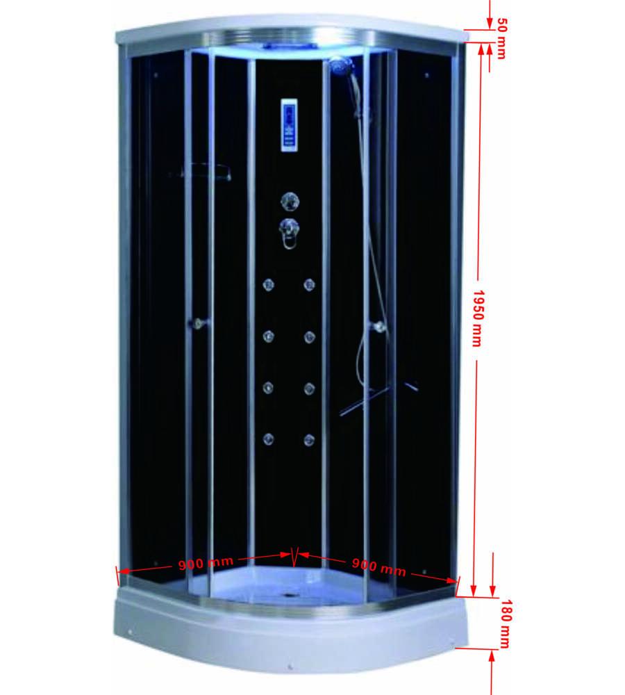 Accessori Per Doccia Idromassaggio.Cabina Doccia Idromassaggio A7090bl Con Accessori In Alluminio Ed Interno Nero
