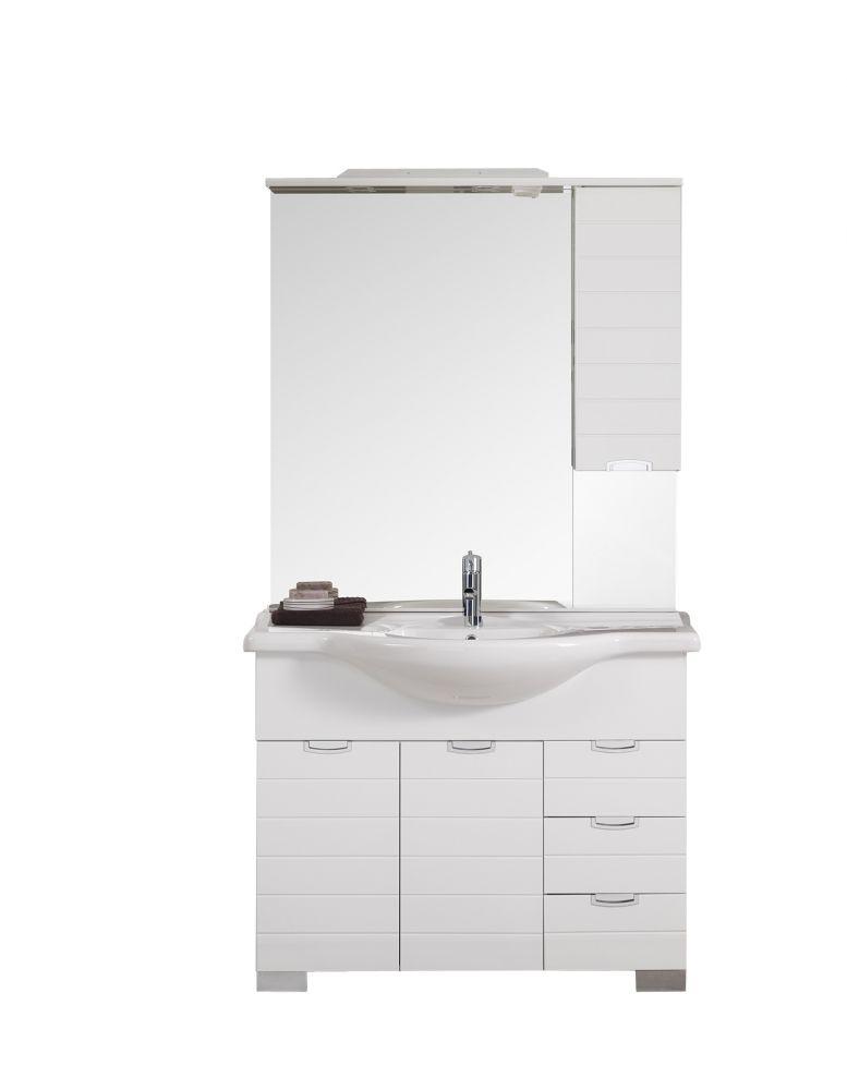 Composizione da bagno rigo bianco lucido 105x52x190h cm - Bagno bianco lucido ...