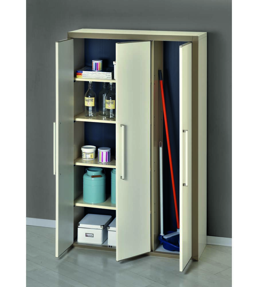 Armadio In Resina Portascope.Mobile Alto In Resina Con 4 Ripiani E Portascope Colore Beige