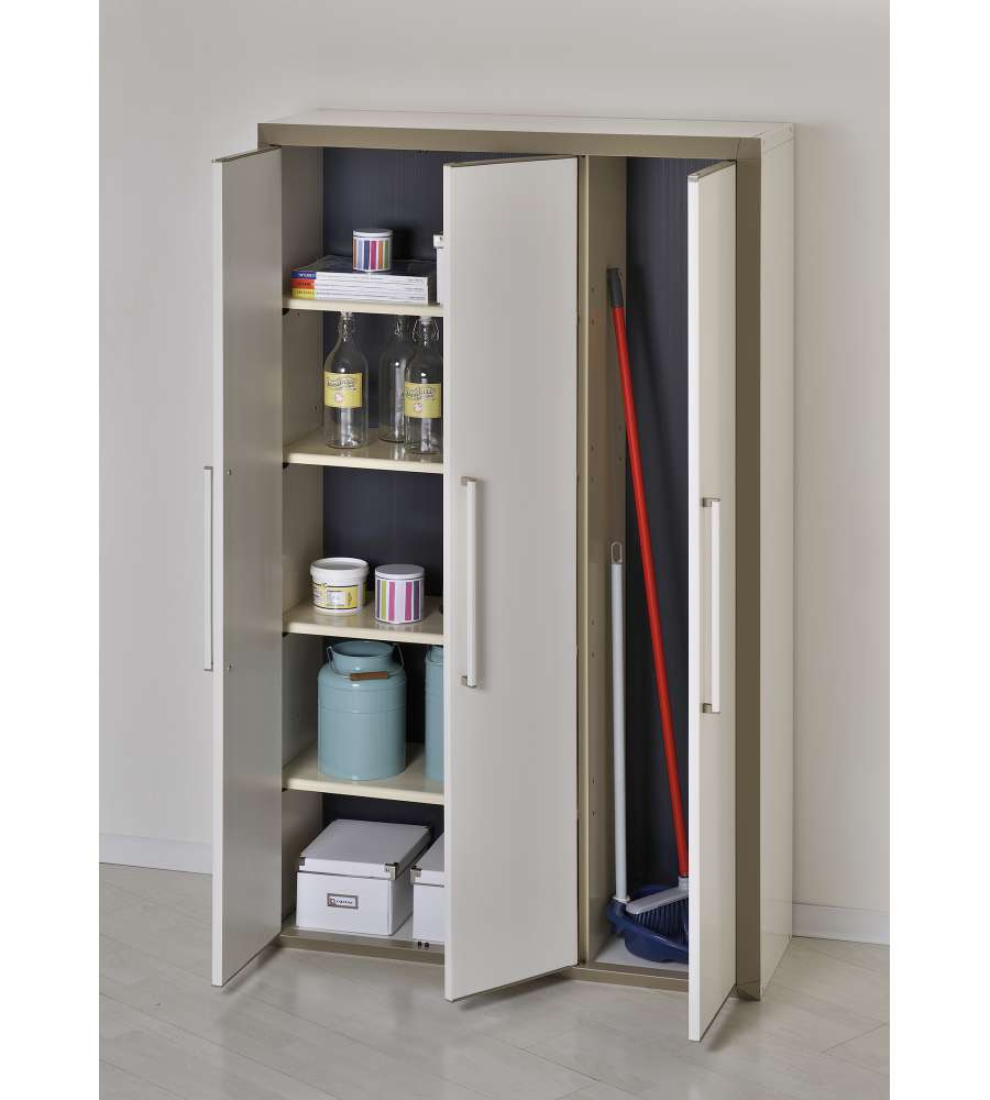 Armadio In Plastica Porta Scope.Mobile Alto In Resina Con 4 Ripiani E Portascope Colore Beige
