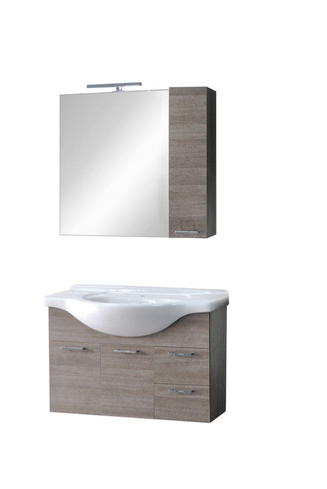 Composizione bagno sospesa gaia larice grigio for Composizione bagno offerte