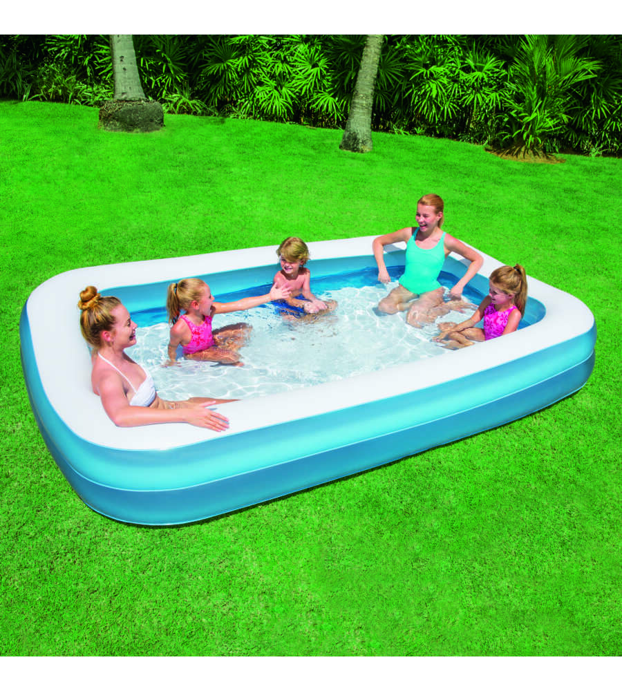 Piscina rettangolare blu a due anelli per bambini bestway 305x183x46 cm - Piscine per bambini ...