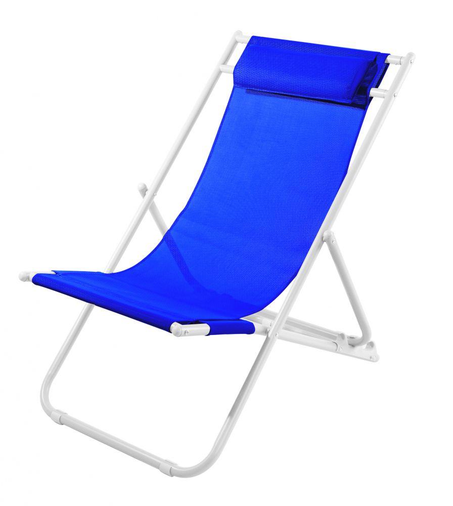 Sdraio relax con 3 posizioni con cuscino bianco e blu for Bricoman arredo giardino