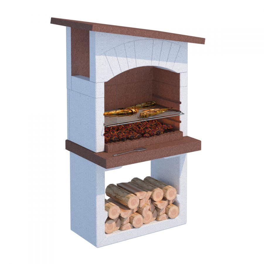 Barbecue a legna in cemento gran canaria 81x58x155h cm - Cemento colorato per esterno ...