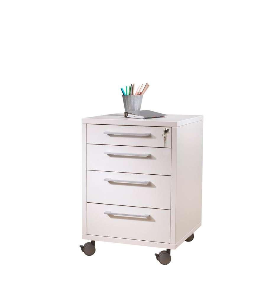 Cassettiera da ufficio bianca con ruote e 4 cassetti tvilum - Cassettiere ufficio ...