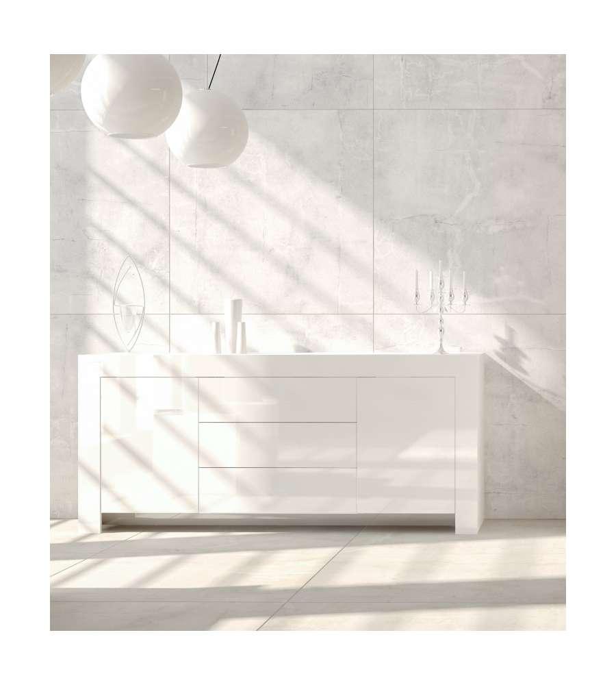 Mobile soggiorno moderno bianco laccato basso con 2 ante 3 for Mobile basso soggiorno moderno