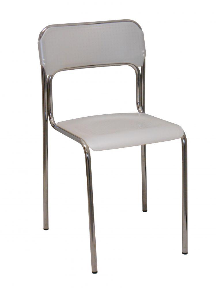 sedia modello ascona cromata colore bianco trasparente