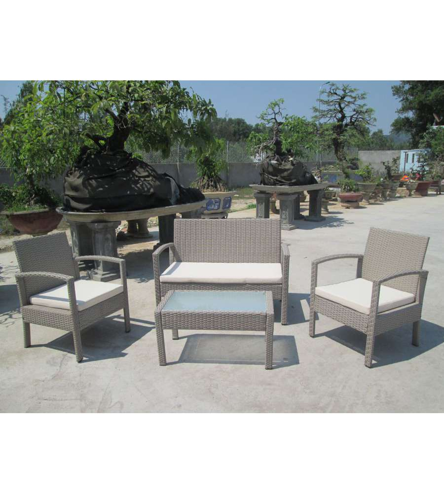 Offerta set pe rattan color talpa con cuscini for Offerte set da giardino