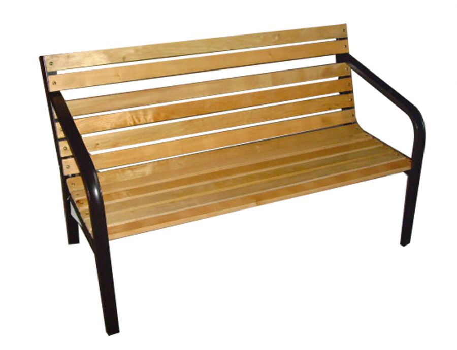 Panchina da giardino in acciaio e legno 122x60x80 cm - Panchine da esterno in ferro ...