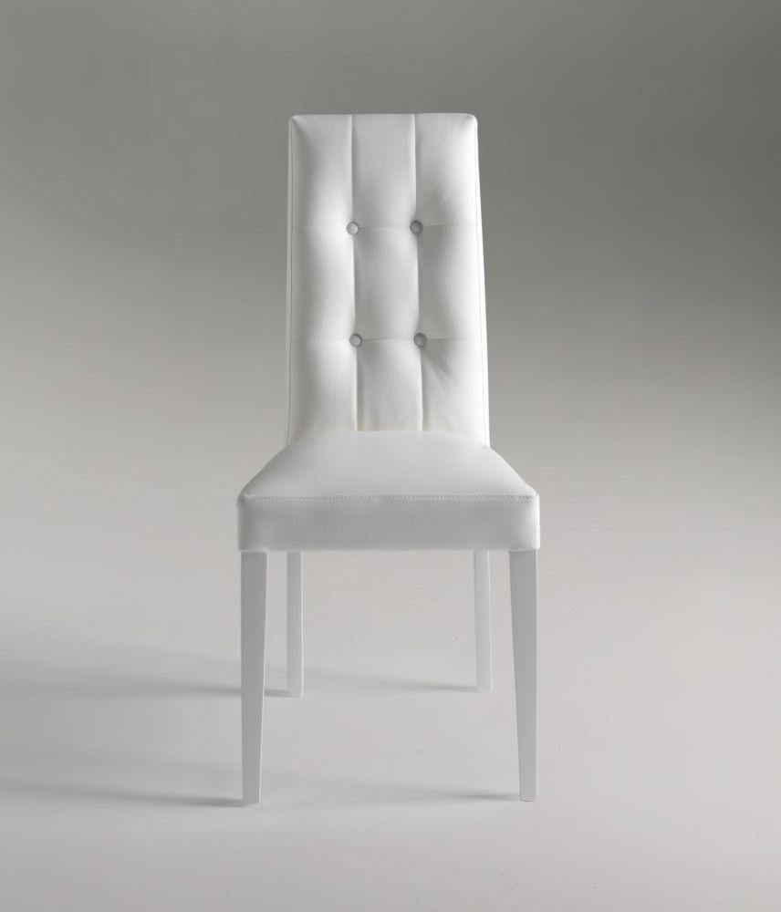 sedia design in ecopelle bianca modello dallas