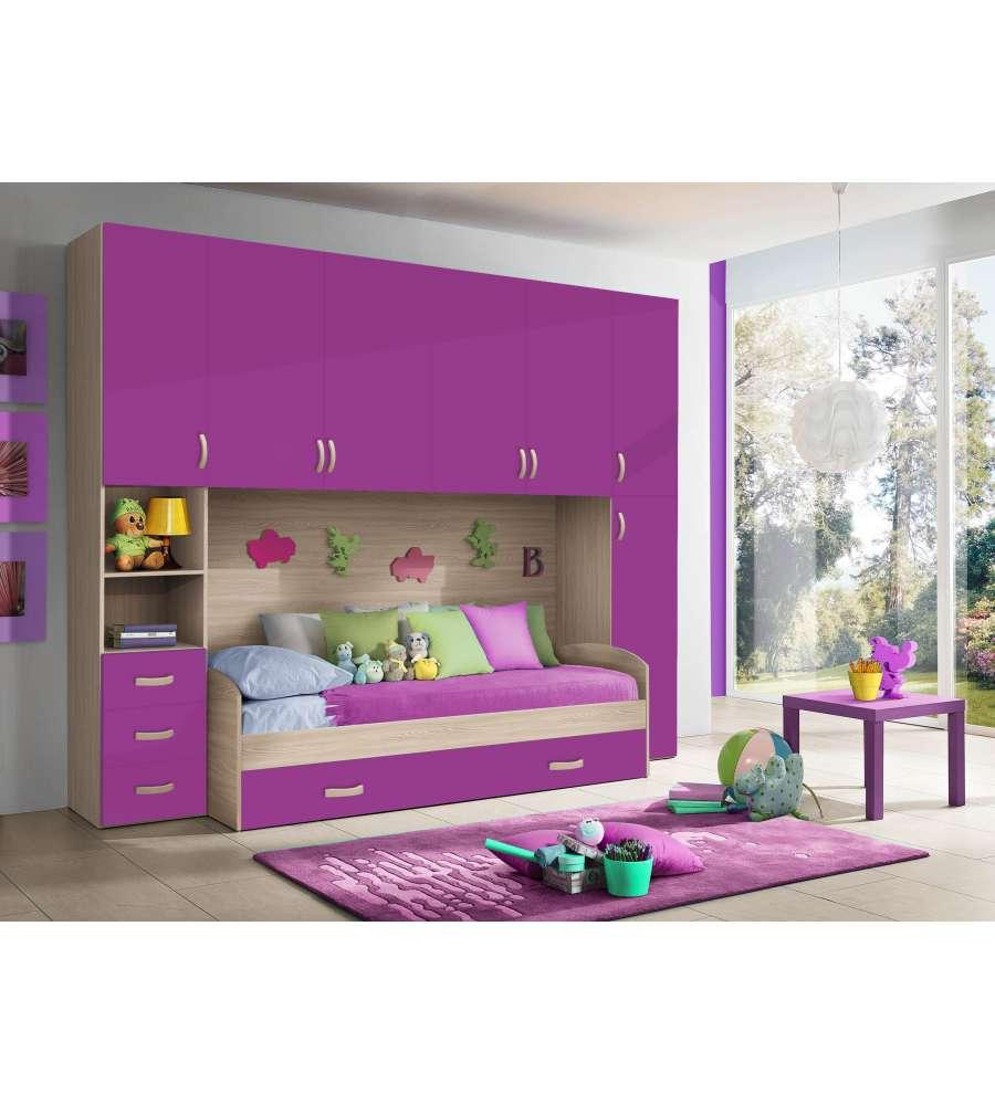 Cameretta a ponte con due colonne colore olmo e lampone for Camere da letto moderne colore olmo