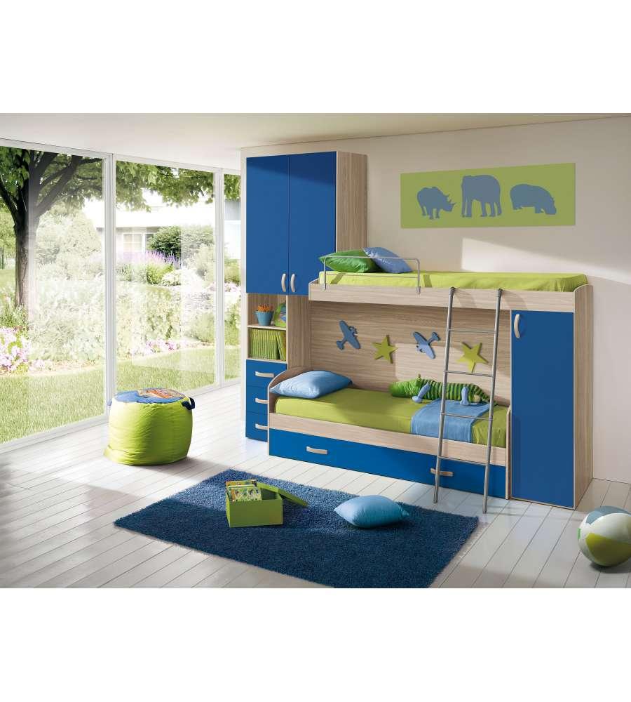 Cameretta a soppalco con una colonna e 3 ante colore olmo e blu - Camere da letto con soppalco ...