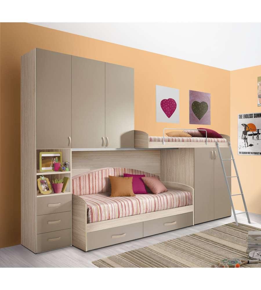 Cameretta a soppalco con una colonna e 5 ante colore for Camere da letto moderne colore olmo