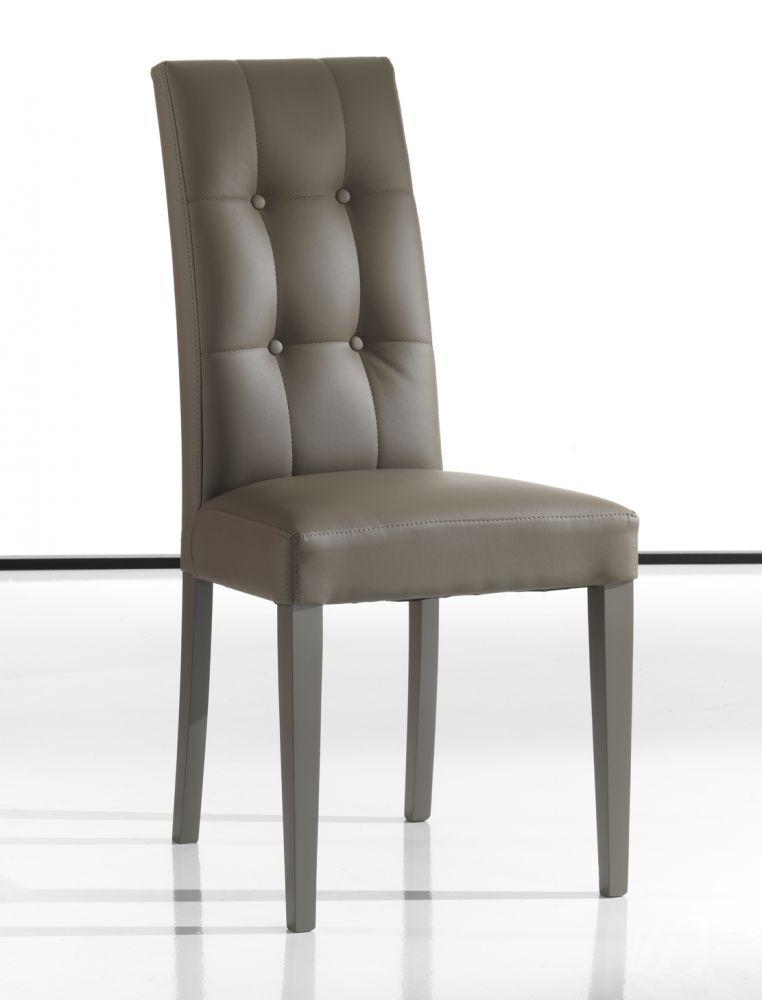 sedia design in ecopelle colore tortora modello dallas