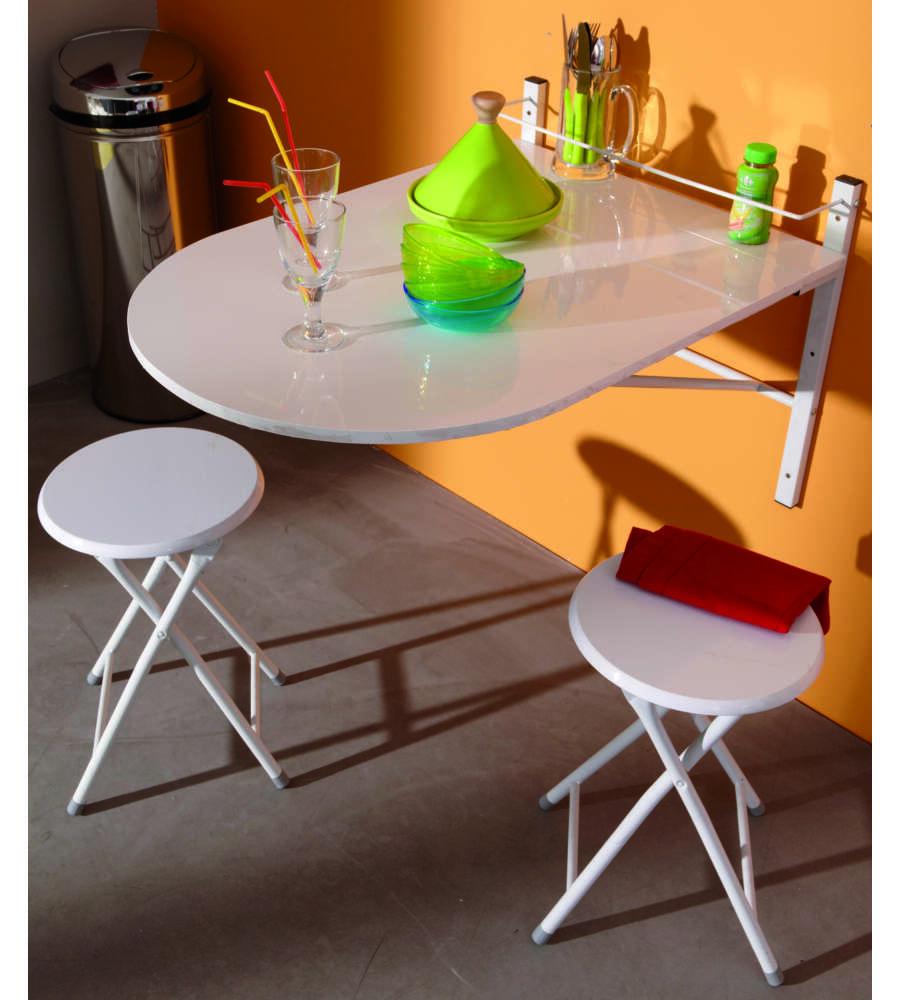 Set con tavolo da parete con 2 sgabelli colore bianco - Tavolo da parete ikea ...