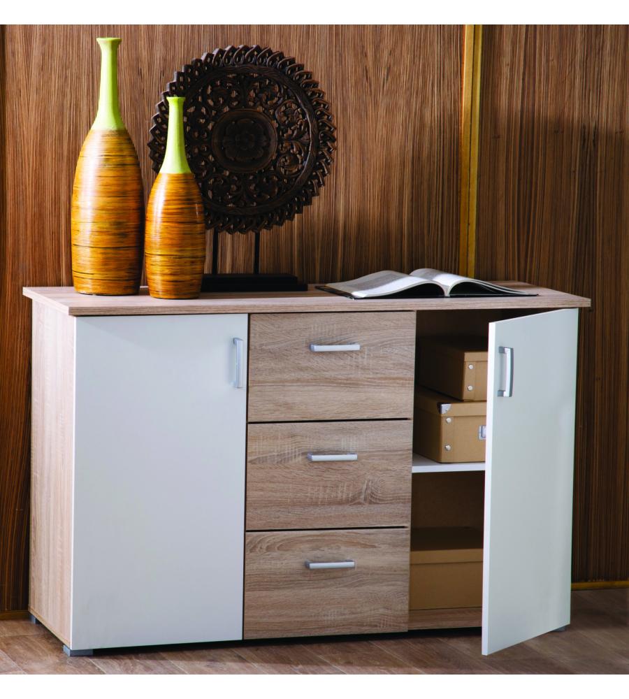 Mobile multiuso 2 ante e 3 cassetti colore bianco e rovere - Colori mobili legno ...