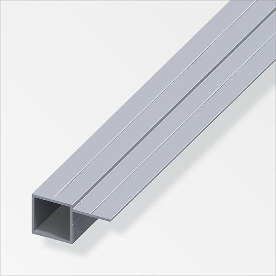 Tubo quadrato in alluminio con 1 lato sfalsato 2 5 metri - Profili in plastica per piastrelle ...