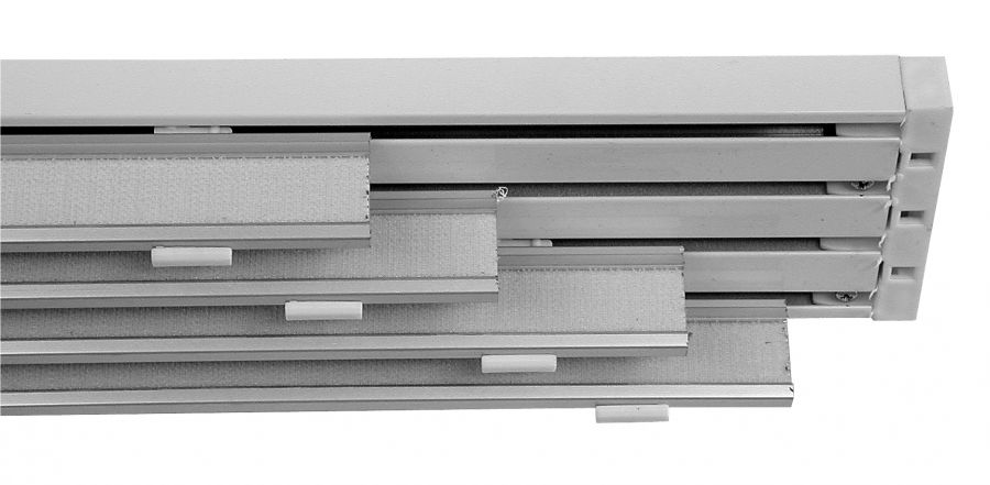 Binario bianco da 250 cm 4 vie per tende a pannello da 70 cm - Binari per tende da esterno ...
