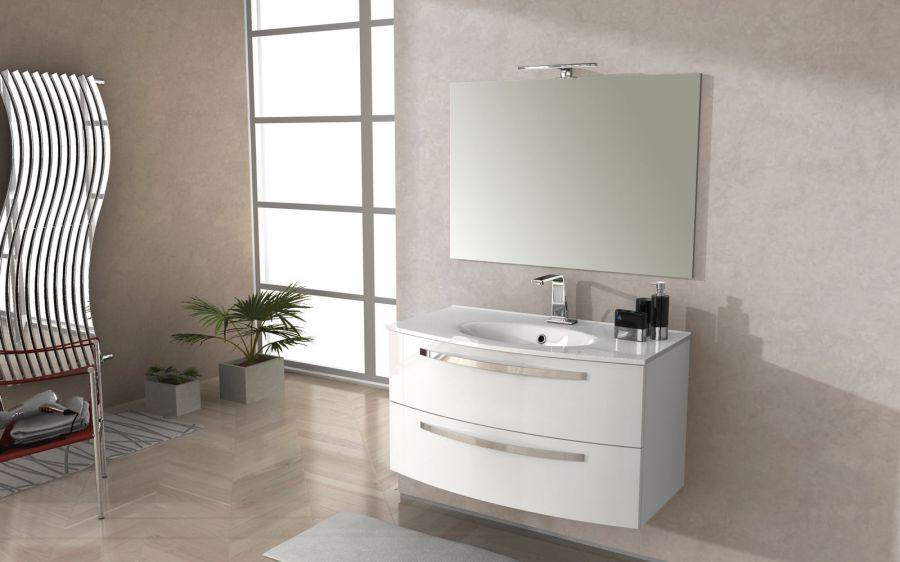 Composizione mobile bagno stella 100 colore bianco lucido for Mobili bagno classici offerte
