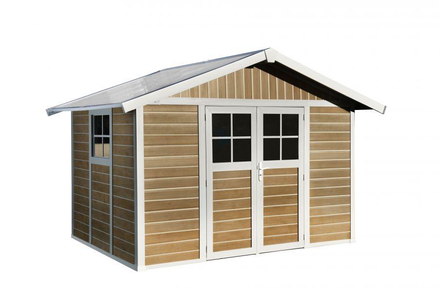 Casetta da giardino sherwood deco in pvc effetto legno 7 5 mq - Casette da giardino in alluminio ...