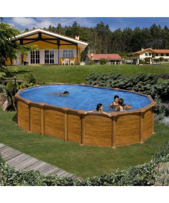 Gre piscina ovale amazonia aspetto legno 610 x 375 - Piscina smontabile ...