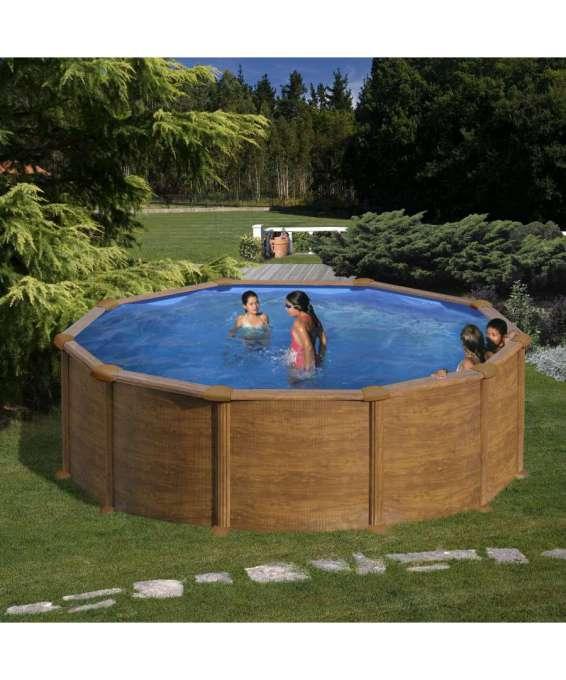 piscina tonda per esterno maldivas aspetto legno