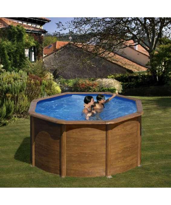 Gre piscina tonda pacific aspetto legno 240 h120 for Addobbi piscina