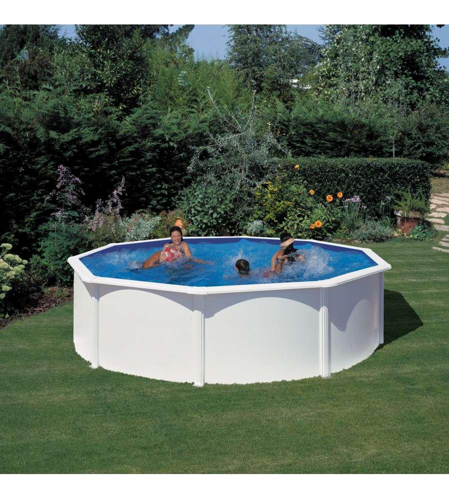 """Piscina Da Esterno Fuori Terra piscina tonda fuori terra """"fidji"""" struttura in acciaio colore bianco - Ø350  h120 - kit350eco."""