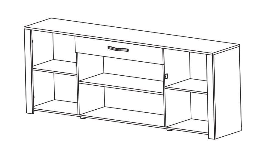 Mobile basso per soggiorno pino bianco rovere modello for Mobile basso per soggiorno