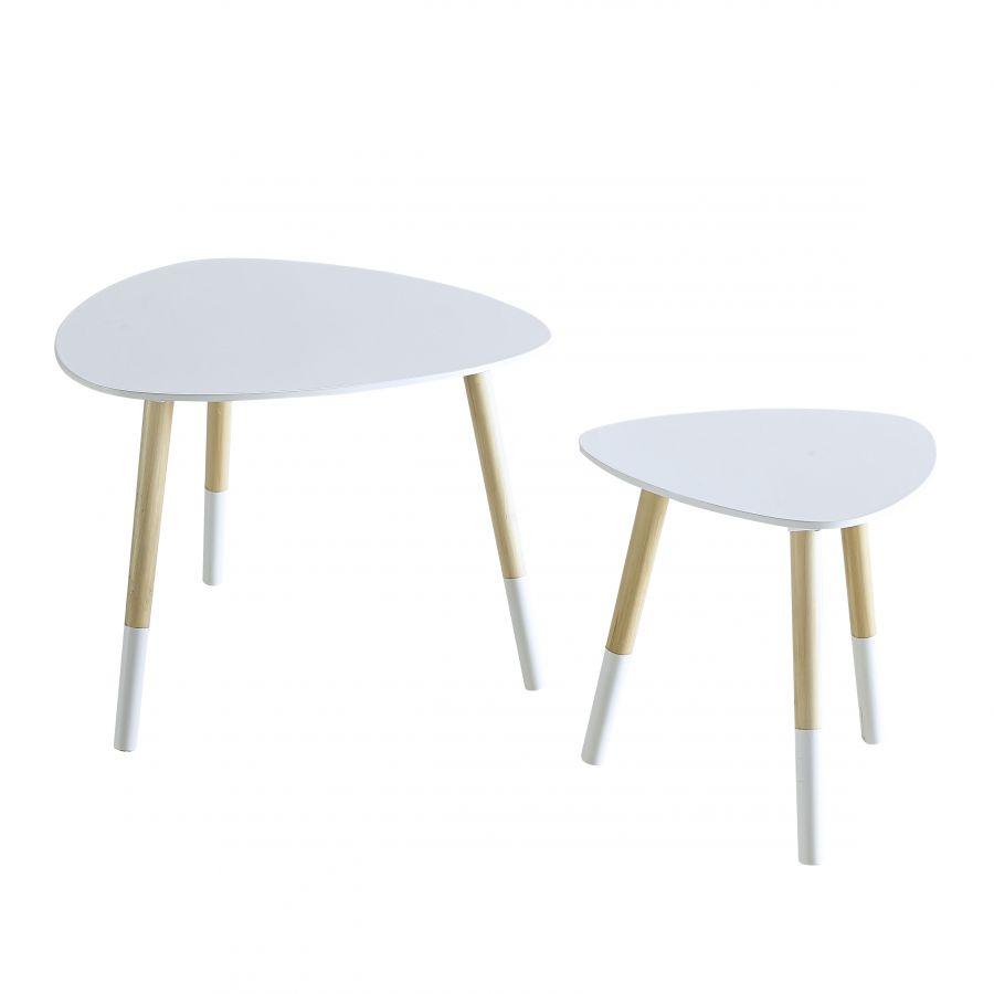 Set tavolini bianco lucido for Tavolini bianchi