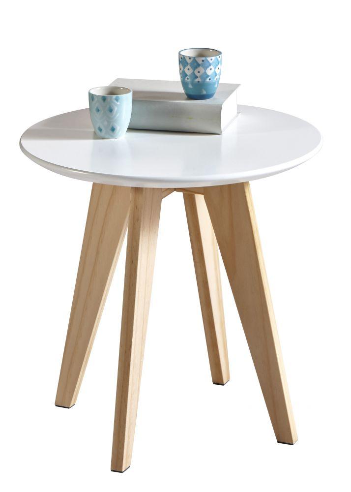 Tavolino basso da salotto rotondo bianco for Tavolo salotto