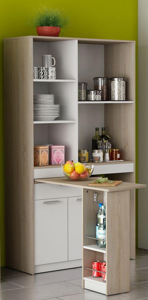 Mobile da cucina con penisola colore quercia e bianco for Mobili in quercia