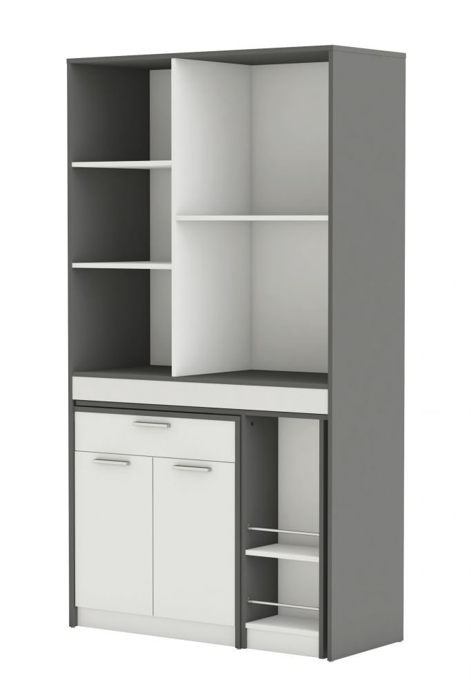 Mobile da cucina con penisola colore grigio e bianco - Mobile microonde ...
