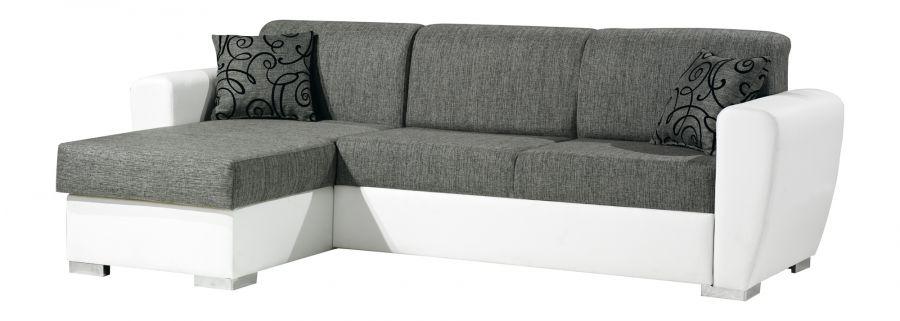Divano letto con penisola tessuto grigio con ecopelle - Divano letto grigio ...