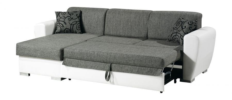 Divano letto con penisola tessuto grigio con ecopelle for Divano letto 150
