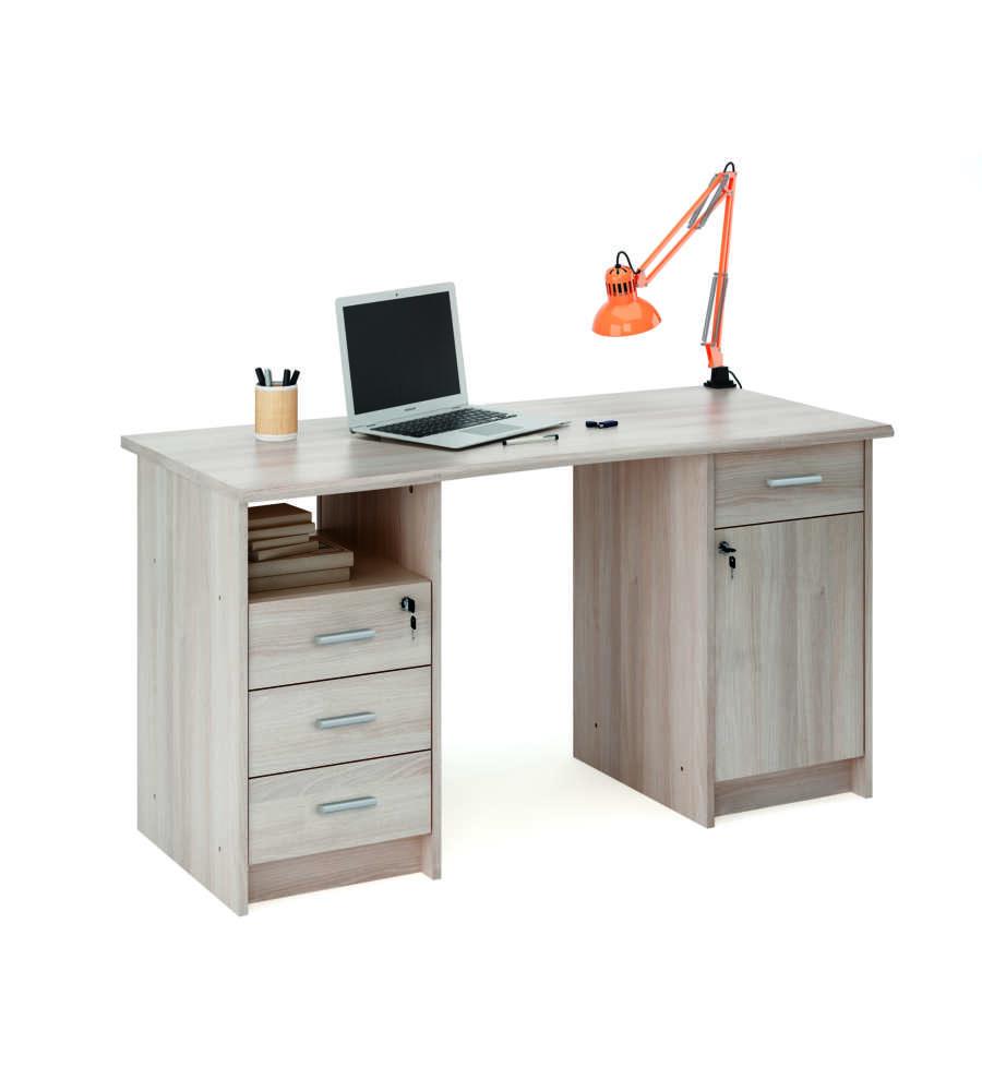 Scrivania da ufficio con cassetti e anta imitazione legno quercia