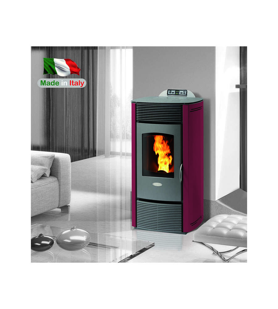 Stufa a pellet ventilata z12 color bordeaux 12 kw - Stufe a pellet ventilate ...