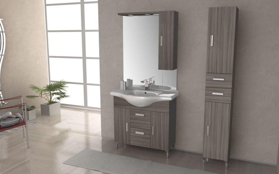 Composizione mobile bagno rovereto colore larice - Mobili a colonna per bagno ...