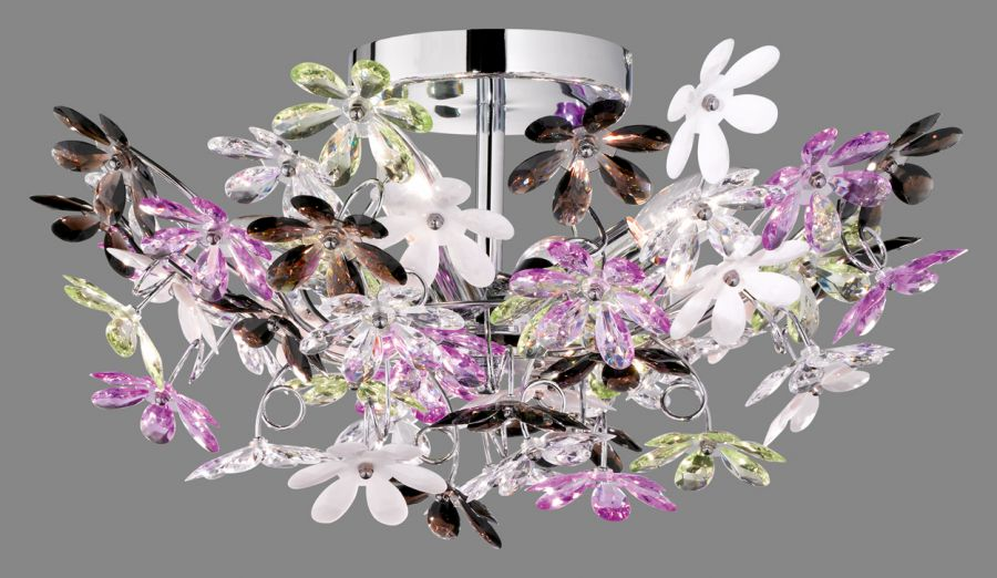 Plafoniere Fiori : Flower plafoniera diametro cm fiori trasparenti e multicolor