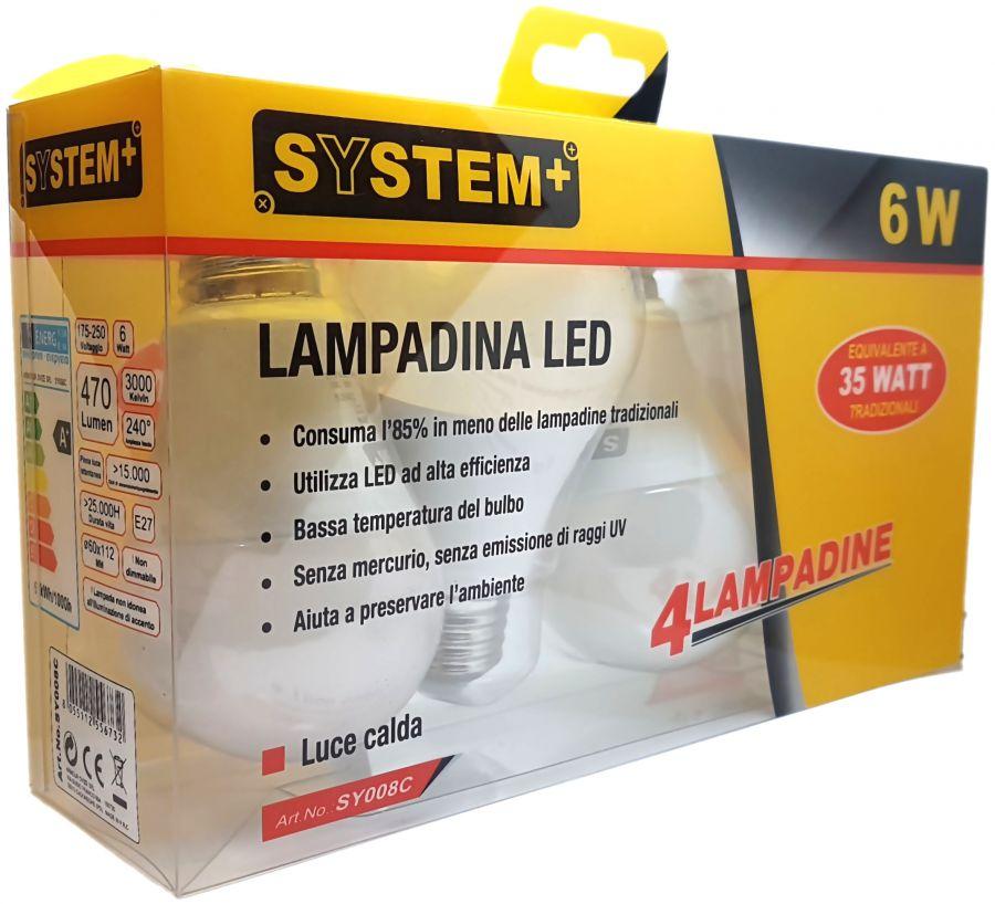 Offerta set 4 lampadine a led e27 6w luce calda for Lampadine faretti led luce calda