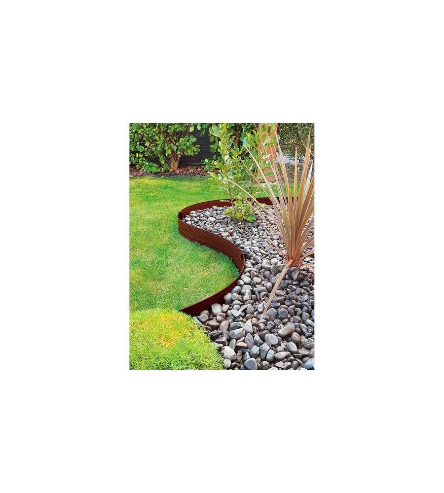 Bordure Giardino In Plastica.Bordura Da 3 Metri In Plastica Marrone Per Aiuole E Giardino 6 Picchetti