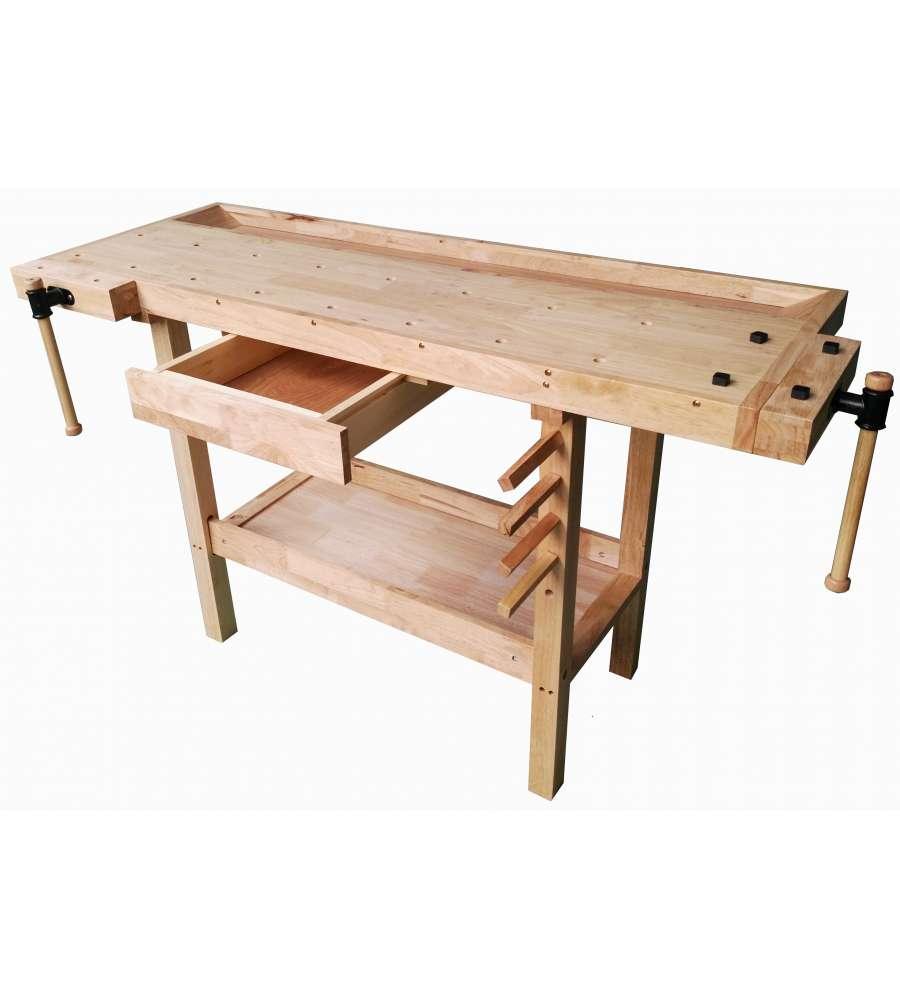Tavolo da lavoro in legno l148 x p61 x h86 cm - Banco da lavoro cucina legno ...