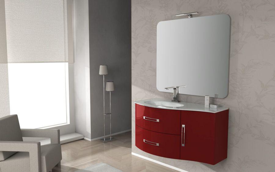 composizione mobile bagno best con 2 cassetti 1 anta e lavabo in vetro