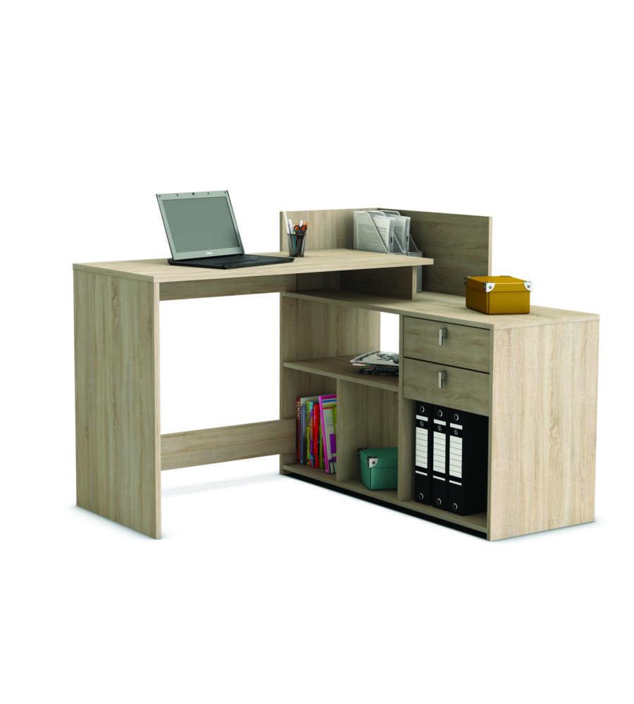 scrivania ad angolo con cassetti e vani di riponimento quercia spazzolato. Black Bedroom Furniture Sets. Home Design Ideas