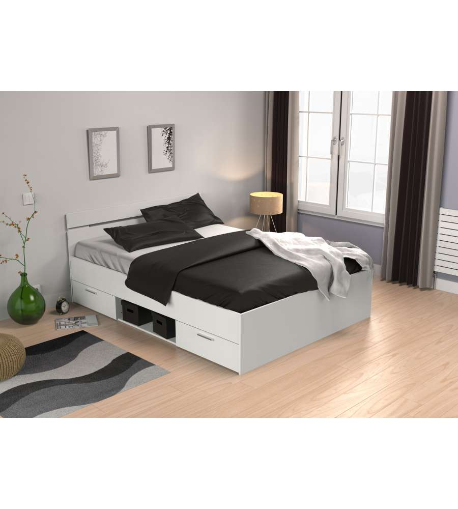 letto matrimoniale bianco perla con cassetti 140x190 cm. Black Bedroom Furniture Sets. Home Design Ideas