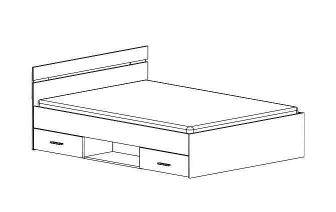 Letto Singolo Dimensioni Standard.Letto Matrimoniale Bianco Perla Con Cassetti 140x190 Cm