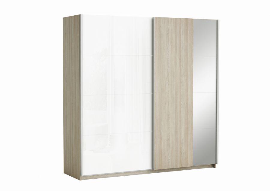 Armadio 2 Ante Scorrevoli A Specchio.Armadio Con 2 Ante Scorrevoli E Specchio Colore Quercia E Bianco