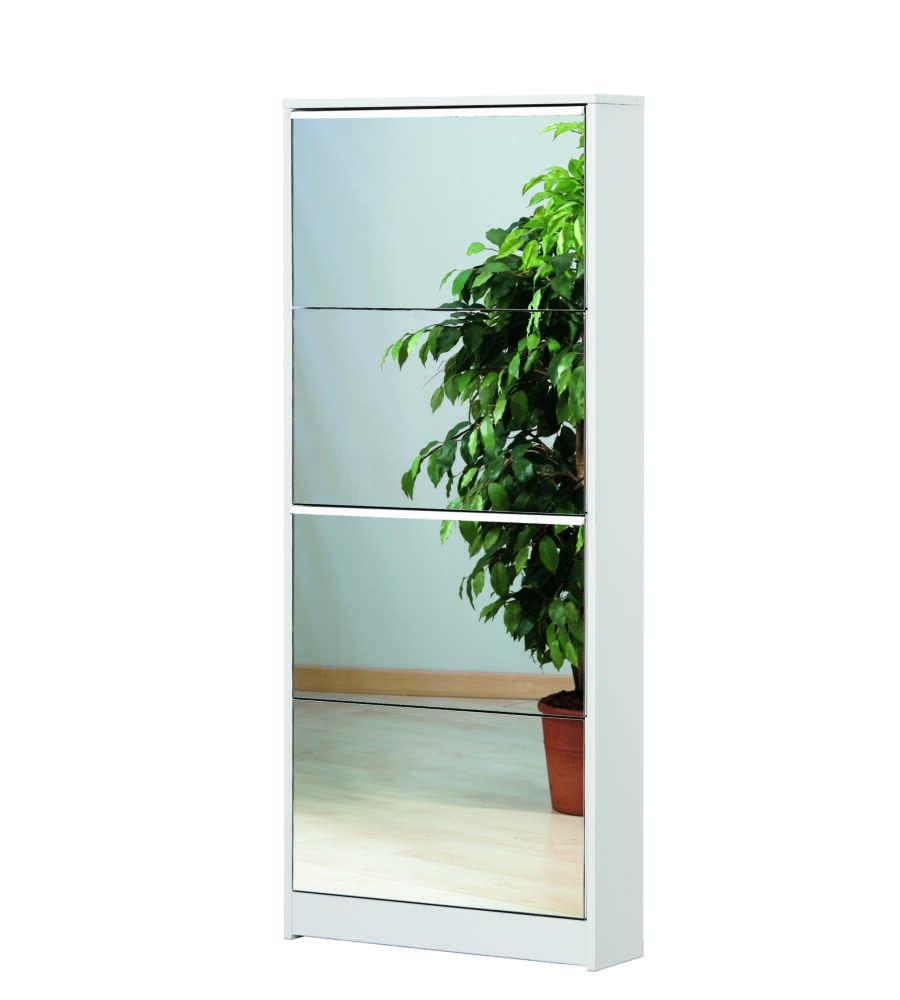 Scarpiera a 4 ante bianco con ante colore specchio - Scarpiera specchio bianca ...